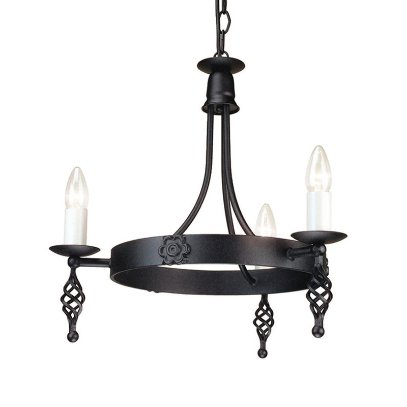 Elstead Lighting Lighting Belfry 3lt Chandelier Black by Elstead Lighting