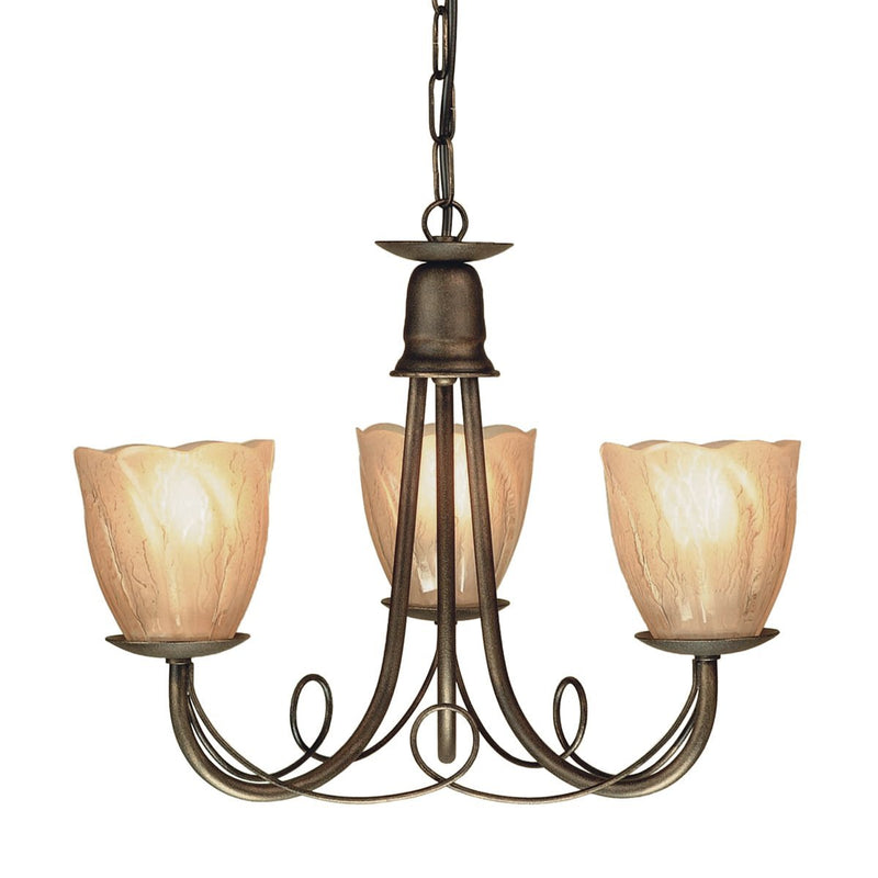 Elstead Lighting Lighting Minster 3lt Chandelier Black/Gold by Elstead Lighting