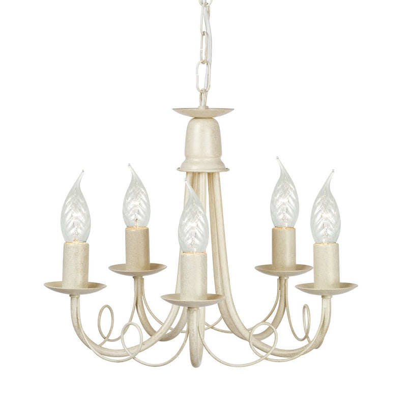 Elstead Lighting Lighting Minster 5lt Chandelier Ivory Gold by Elstead Lighting