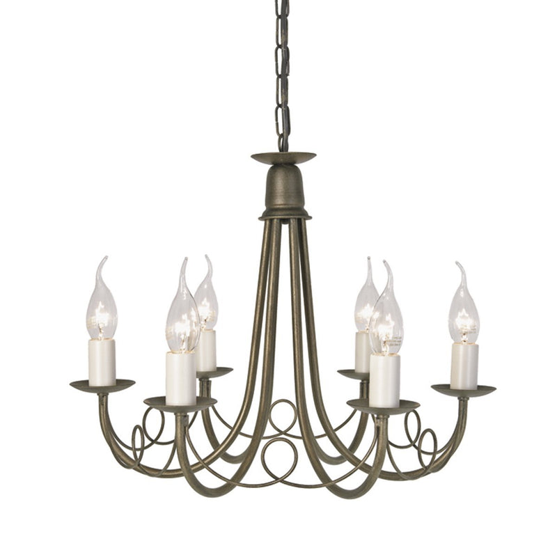Elstead Lighting Lighting Minster 6lt Chandelier Ivory Gold by Elstead Lighting