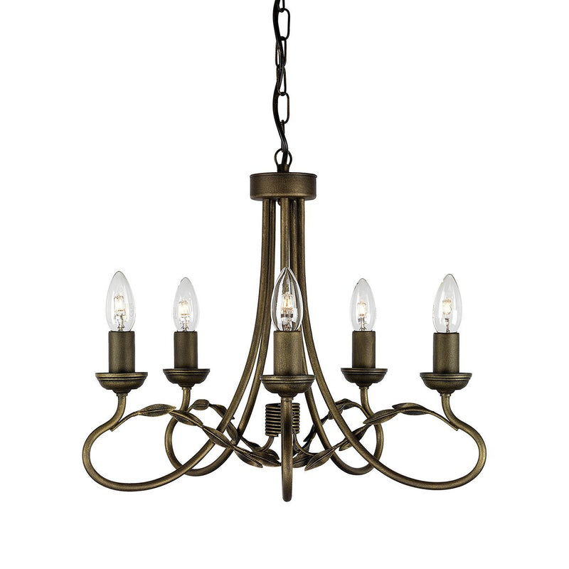 Elstead Lighting Lighting Olivia 5lt Chandelier Black/Gold by Elstead Lighting