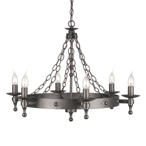 Elstead Lighting Lighting Warwick 6lt Chandelier Graphite by Elstead Lighting