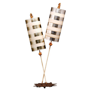 Flambeau Lighting Nettle Luxe Silver Table Lamp by Flambeau