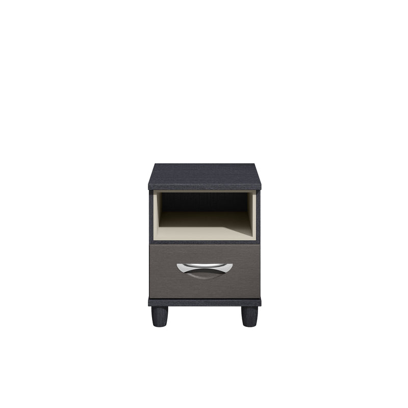 KT Furniture Bedside Cabinet KT Moda Black Oak Carcase Cross Grain Textured Graphite Fronts 1 Drawer Pod Bedside Cabinet With Light