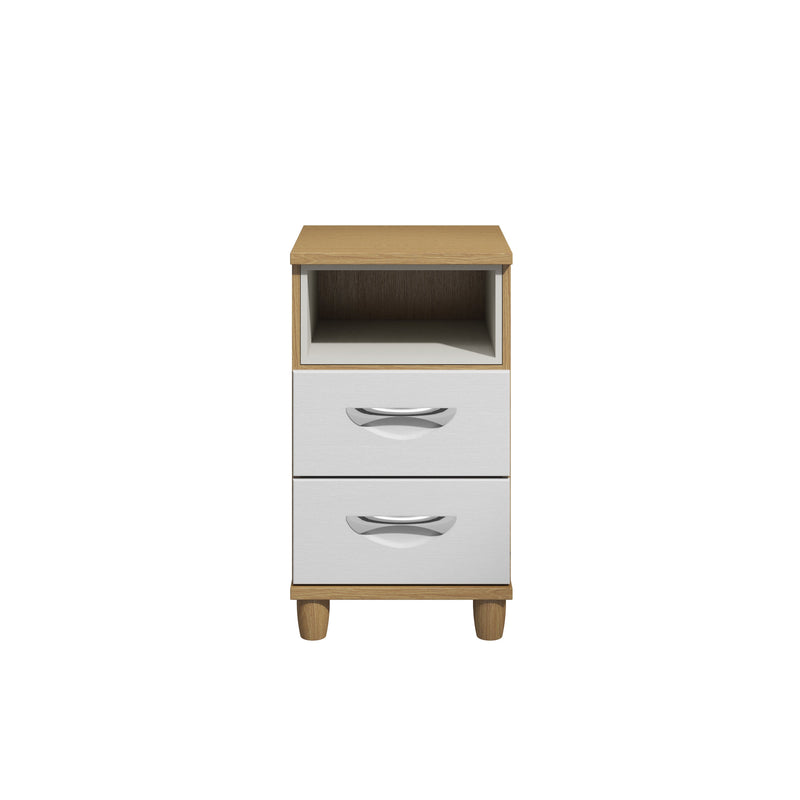 KT Furniture Bedside Cabinet KT Moda Oak Carcase Cross Grain Textured White Fronts 2 Drawer Pod Bedside Cabinet With Light