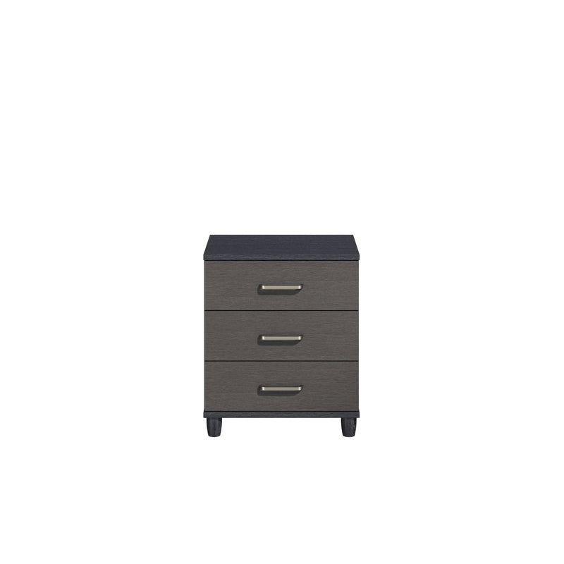 KT Furniture Chest Of Drawers KT Deco Black Oak Carcase Graphite Woodgrain Fronts 3 Drawer Wide Chest Of Drawers
