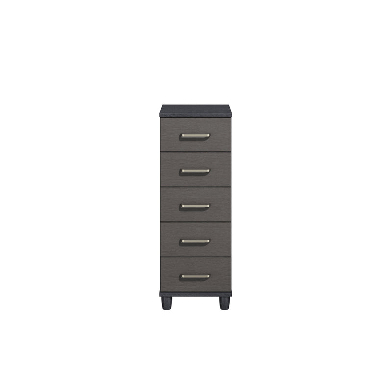 KT Furniture Chest Of Drawers KT Deco Black Oak Carcase Graphite Woodgrain Fronts 5 Drawer Narrow Chest Of Drawers