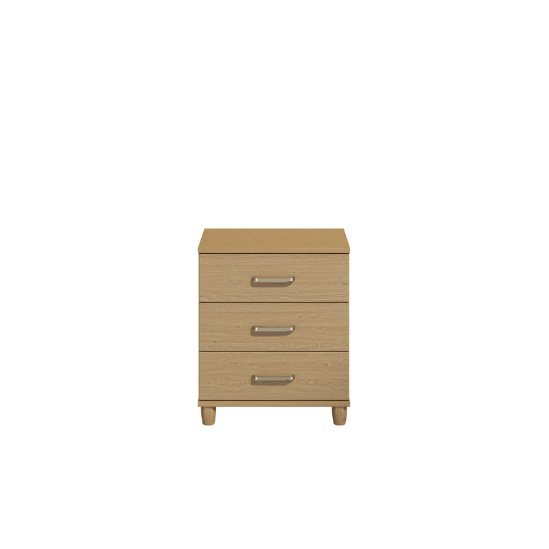 KT Furniture Chest Of Drawers KT Deco Oak Carcase Oak Woodgrain Fronts 3 Drawer Wide Chest Of Drawers