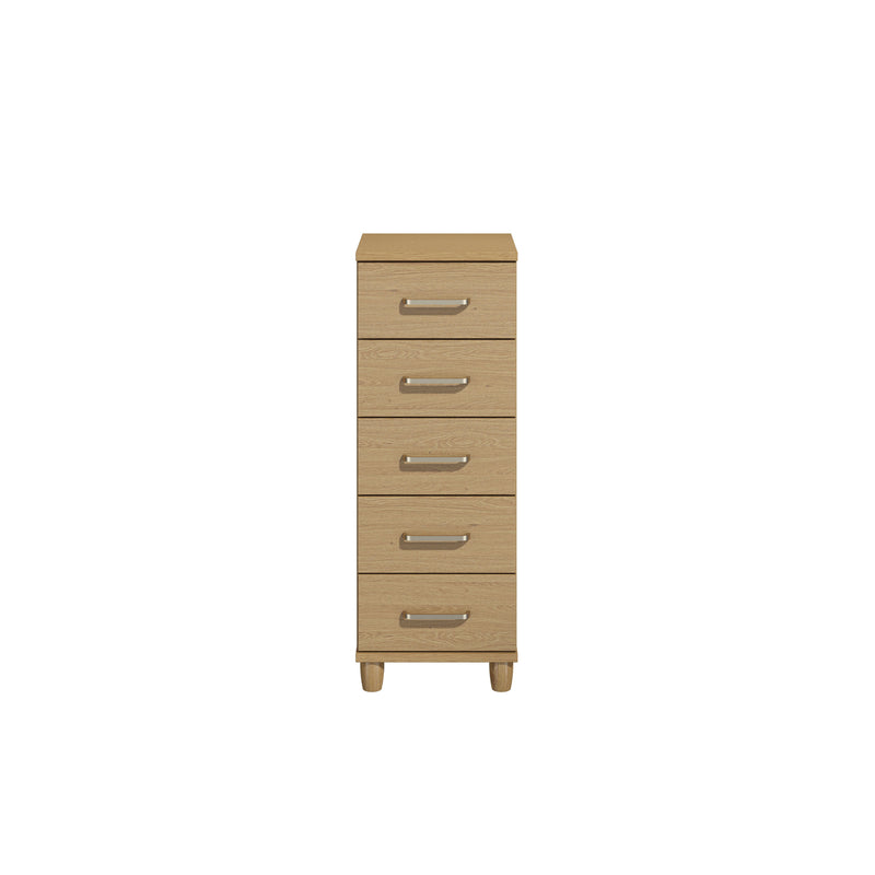 KT Furniture Chest Of Drawers KT Deco Oak Carcase Oak Woodgrain Fronts 5 Drawer Large Chest Of Drawers