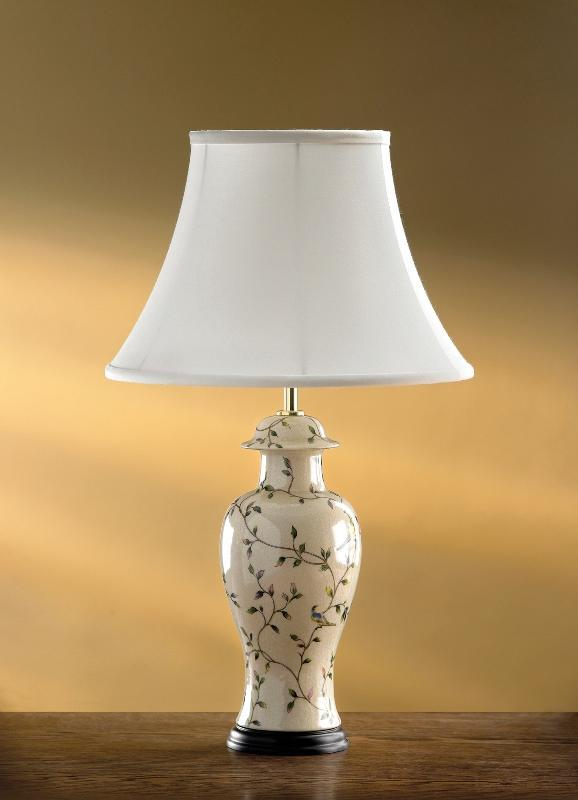 Luis Collection Lighting Bird Crackle Temple Jar Table Lamp by Luis Collection