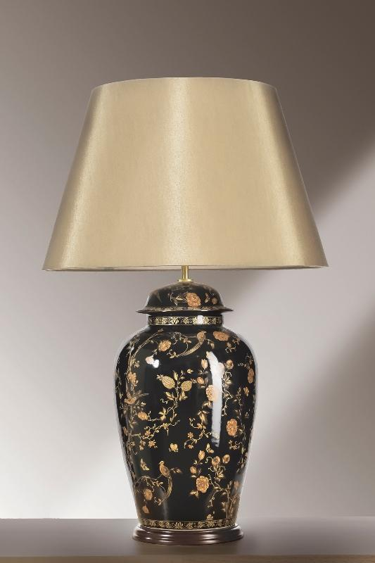 Luis Collection Lighting Black Birds Temple Jar Large Table Lamp by Luis Collection
