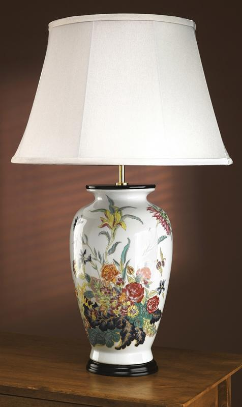 Luis Collection Lighting Blue Flower Tea Caddy Table Lamp by Luis Collection