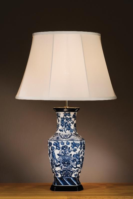 Luis Collection Lighting Blue & White Hexagon Vase Table Lamp by Luis Collection