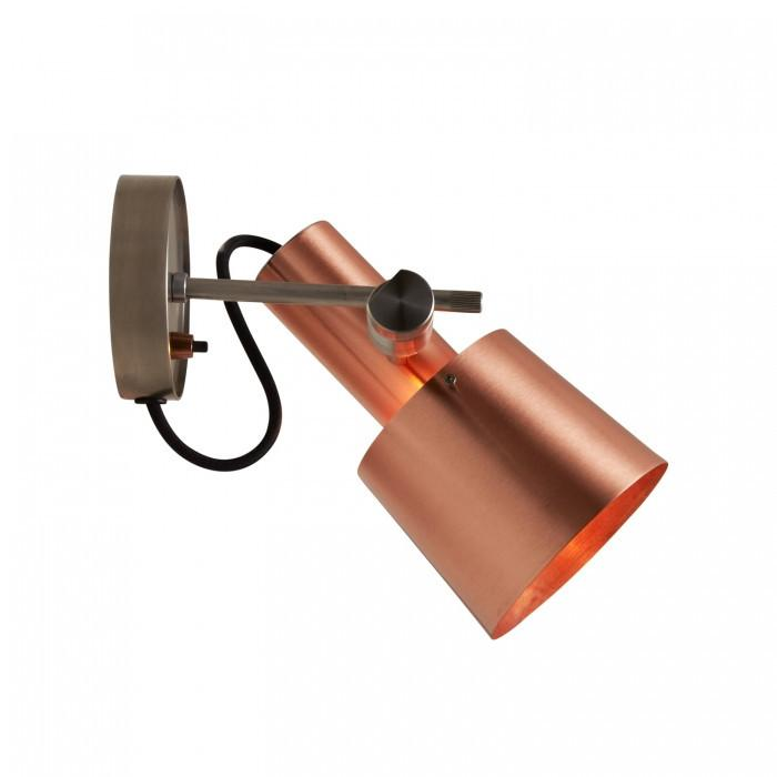 Original BTC Lighting Chester Wall Light: Satin Copper: Black Braided Cable By Original BTC