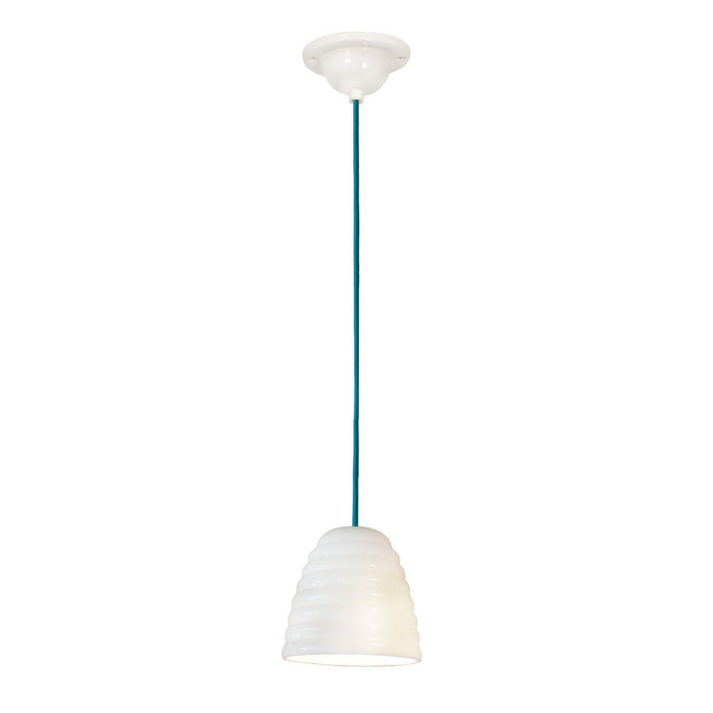 Original BTC Lighting Hector Bibendum Size 1 Pendant: White With Turquoise Cable By Original BTC