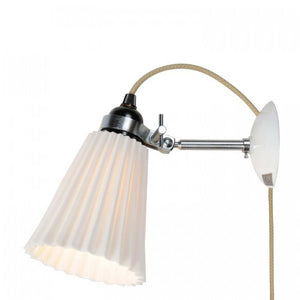 Original BTC Lighting Hector Medium Pleat Wall Light: Plug: Switch & Cable: Natural By Original BTC
