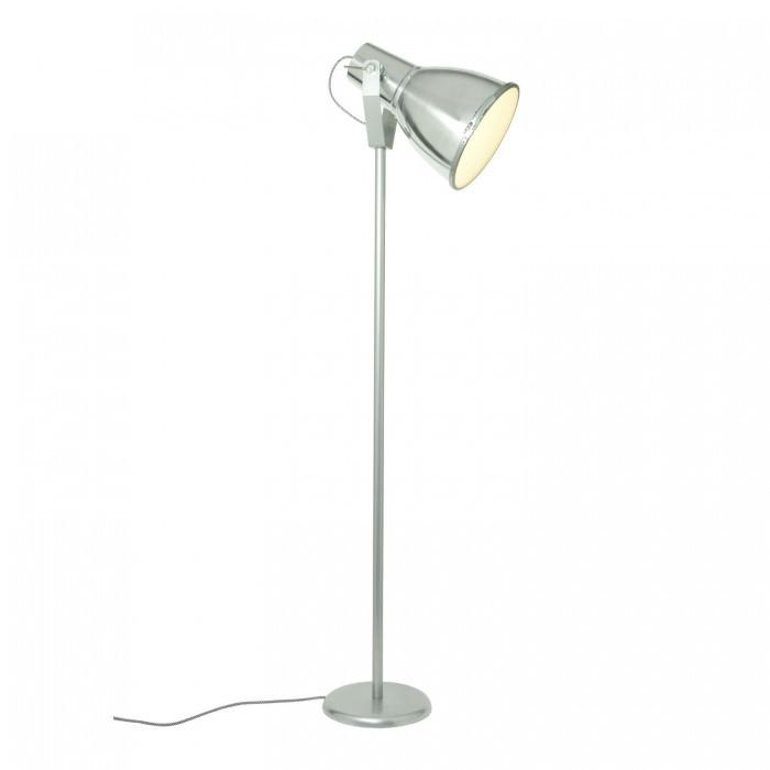 Original BTC Lighting Stirrup 3 Floor Light With Etched Glass: Natural Aluminium By Original BTC
