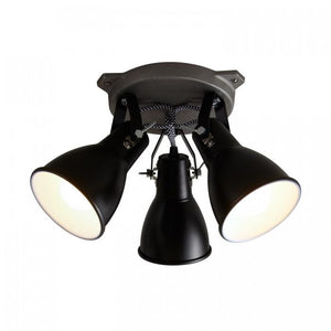Original BTC Lighting Stirrup Triple Ceiling Light Black By Original BTC
