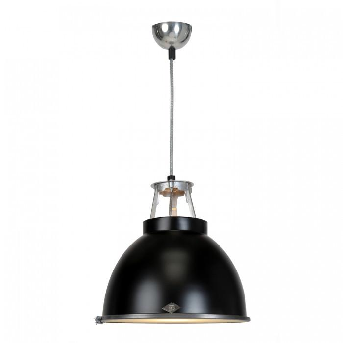 Original BTC Lighting Titan Size 1 Pendant Light: Black With Etched Glass By Original BTC