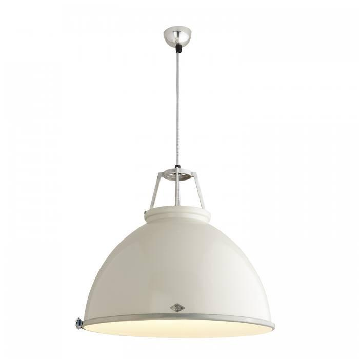 Original BTC Lighting Titan Size 5 Pendant Light: Putty Grey With Etched Glass By Original BTC