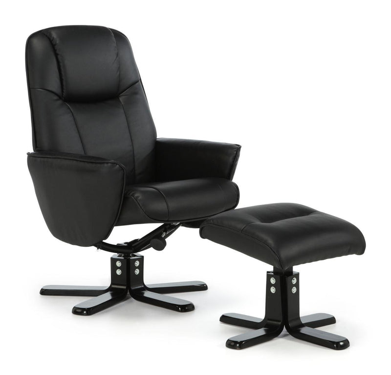 Serene Furnishings Armchair Bergen Black Swivel And Faux Leather Recliner Chair By Serene Furnishings