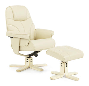 Serene Furnishings Armchair Bobo Swivel And Faux Leather Recliner Chair Cream By Serene Furnishings
