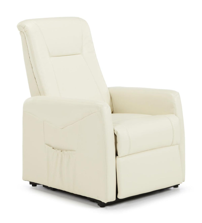 Serene Furnishings Armchair Brevik Okin Motor Rise And Lift Faux Leather Recliner Cream By Serene Furnishings