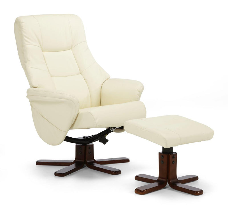 Serene Furnishings Armchair Drammen Swivel And Faux Leather Recliner Cream By Serene Furnishings