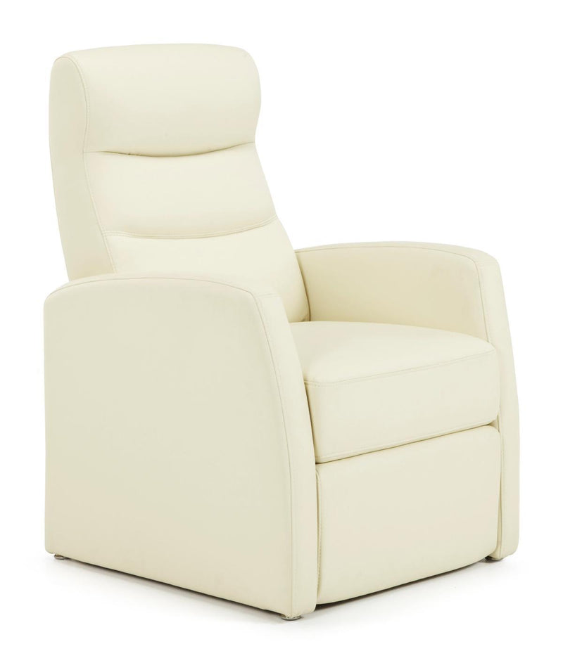 Serene Furnishings Armchair Faux Leather Push Back Recliner Chair Cream By Serene Furnishings