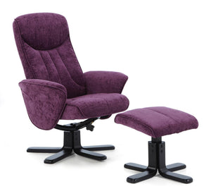 Serene Furnishings Armchair Stavern Swivel And Fabric Recliner Chair Amethyst By Serene Furnishings