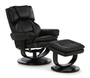 Serene Furnishings Armchair Vardo Swivel + Bonded Leather Recliner Chair Black By Serene Furnishings