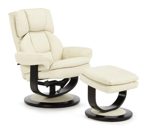 Serene Furnishings Armchair Vardo Swivel + Bonded Leather Recliner Chair Cream By Serene Furnishings