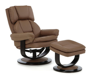 Serene Furnishings Armchair Vardo Swivel + Bonded Leather Recliner Chair Latte By Serene Furnishings