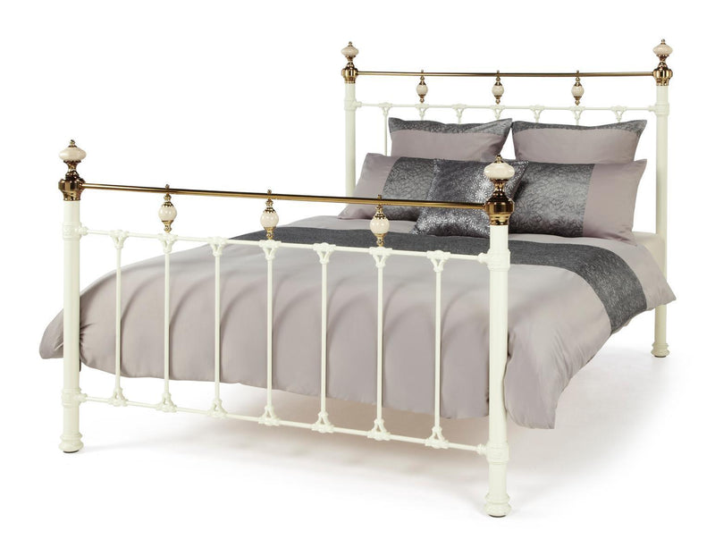 Serene Furnishings Bed Abigail 150 CM Ivory And Brass King Size Bed By Serene Furnishings