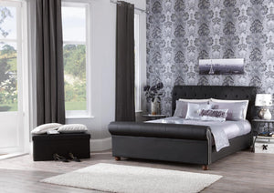 Serene Furnishings Bed Andria 135 CM Black Faux Leather Double Bed By Serene Furnishings