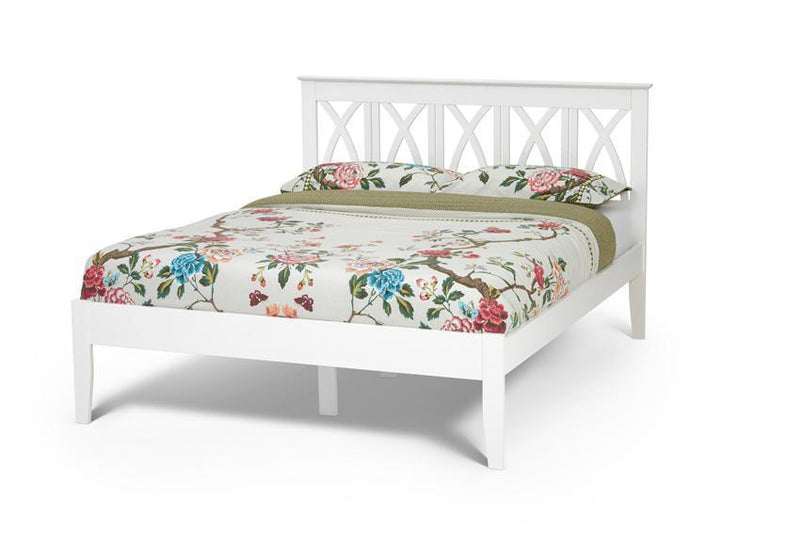 Serene Furnishings Bed Autumn 180CM Hevea Super King Size Bed Opal White By Serene Furnishings
