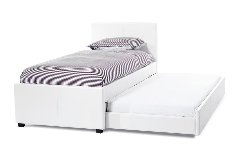Serene Furnishings Bed Cara 90 CM White Faux Leather Single Bed And Guest Bed By Serene Furnishings