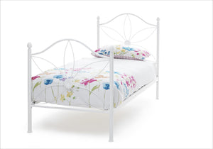 Serene Furnishings Bed Daisy 90 CM White Single Bed By Serene Furnishings