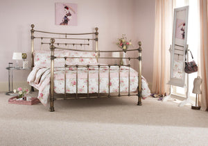 Serene Furnishings Bed Edmond 150 CM Antique Brass King Size Bed By Serene Furnishings