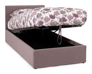 Serene Furnishings Bed Evelyn 90CM Upholstered Lavender Single Ottoman Bed By Serene Furnishings