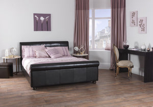 Serene Furnishings Bed Ferrara 135 CM Brown Faux Leather Double Bed By Serene Furnishings