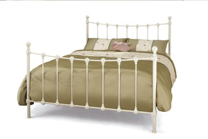 Serene Furnishings Bed Marseille 120 CM Ivory Gloss Small Double Bed By Serene Furnishings
