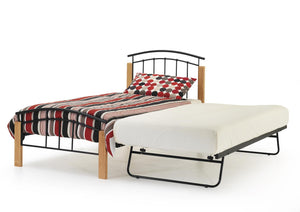 Serene Furnishings Bed Tetras 90 CM Black Single Bed And Guest Bed with Beech Posts By Serene Furnishings