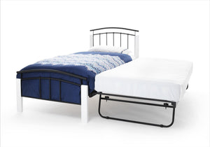 Serene Furnishings Bed Tetras 90 CM Black Single Bed And Guest Bed With White Posts By Serene Furnishings