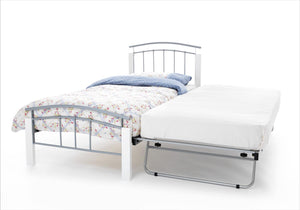 Serene Furnishings Bed Tetras 90 CM Silver Silver Bed And Guest With White Posts By Serene Furnishings