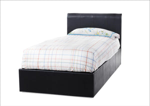 Serene Furnishings Bed Tuscany 90 CM Black Faux Leather Single Ottoman Bed By Serene Furnishings