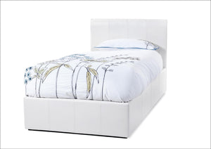 Serene Furnishings Bed Tuscany 90 CM White Faux Leather Single Ottoman Bed By Serene Furnishings