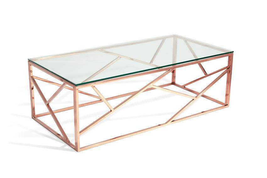 Shop Now Phoenix Glass Top Coffee Table Rose Gold By Serene