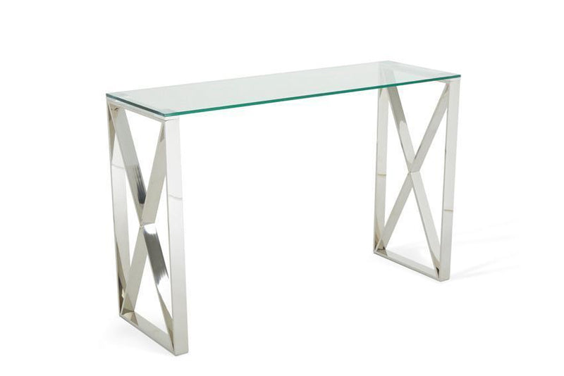 Serene Furnishings Console Table Astra Glass Top Console Table Stainless Steel By Serene Furnishings