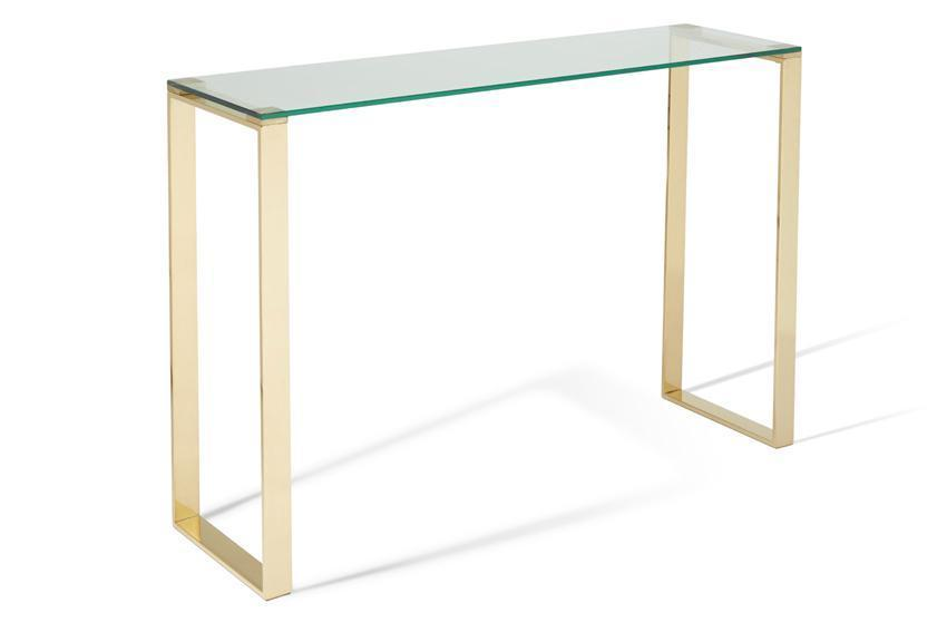 Shop Now Kayla Glass Top Console Table Gold By Serene Furnishings